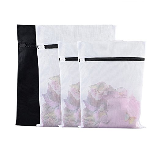 [Set of 4 Delicates Laundry Wash Bag, Mesh Lingerie Wash Bags, Heavy Duty Bra Underwear Socks Laundry Bags for Washer and Dryer, Travel Organizer Bag (white black-4 pack)] (Metal Mesh Bag)