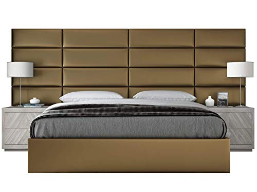 VANT Upholstered Headboards - Accent Wall Panels - Packs Of 4 - Metallic Gold - 30u0022 Wide x 11.5u0022 Height - Full-Queen Headboard