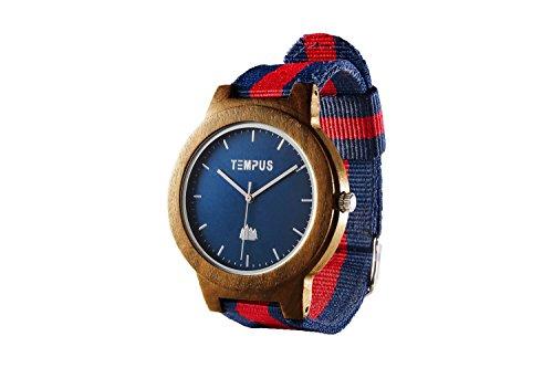 TEMPUS Willoughby - Men's Wood Watch Minimalist Wooden Wristwatch Striped Nylon Oxford Band - TWW06