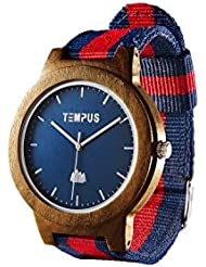 TEMPUS Willoughby - Wood Watch Minimalist Wooden Wristwatch Striped Nylon Oxford Band - TWW06