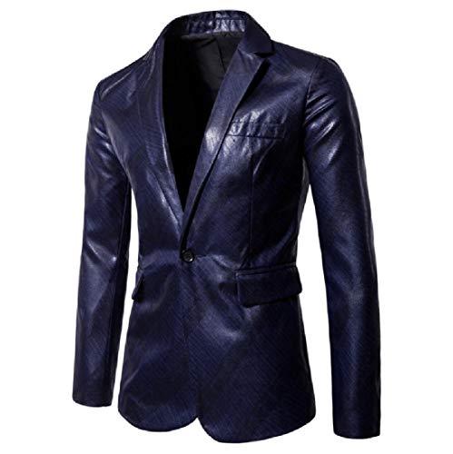 Men's Shiny Wedding 1 Button Outwear Sports Coat Blazers Jacket Navy Blue L
