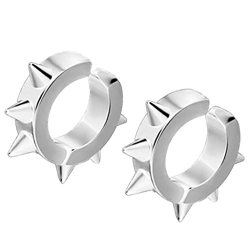 Six Thorns Clip on Earrings Non Piercing Stainless Steel Round Circle Ring for Men Women