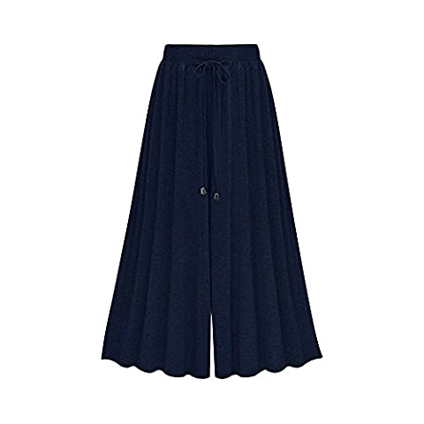 Gooket Women's Wide Leg Palazzo Pants Elastic Waist drawstring knit Jersey Culottes Pants Pants Navy 9-6XL