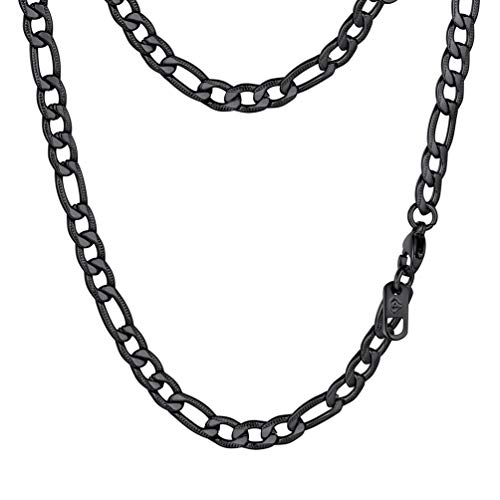 PROSTEEL Black Figaro Link Necklace Stainless Steel Chain Kpop Gothic Men Women Jewelry ()
