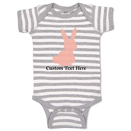 Custom Personalized Boy & Girl Baby Bodysuit Bunny Silhouette Pink Funny Cotton Striped Baby Clothes Stripes Gray White Personalized Text Here Newborn
