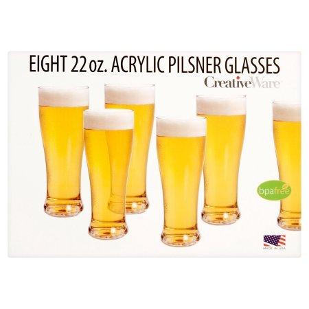 Acrylic Pilsner - Creative Ware 22 oz. Eight Acrylic Pilsner Glasses