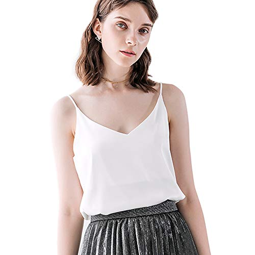 Bighand Cat Sexy Women's Silk Tank Top Ladies Camisole Silky Loose Sleeveless Blouse Tank Shirt with Soft Satin (White, Size M(Tag Size Asia XXL)) ()