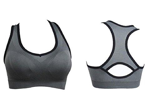 En Entraînement Yoga gorge Soutien Fitness Rembourré Gym Gris Sport Top Sportif Exécution Femmes Gilet Amison 0Y8nSR8