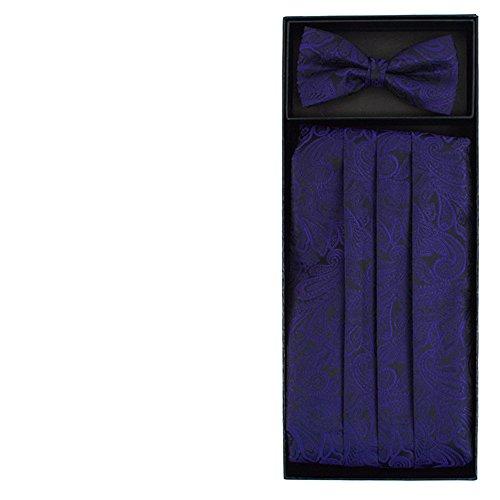 Men's Formal Paisley Matching Cummerbund and Pre-Tied Bow Tie Wedding Set (Purple) ()