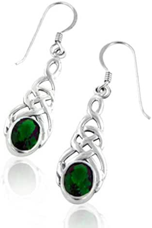 Sterling Silver Celtic Knot Emerald-Green Glass Hook Earrings