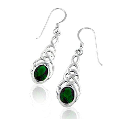 Sterling-Silver-Celtic-Knot-Emerald-Green-Glass-Hook-Earrings