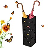 Amzdeal Umbrella Stand Rack Umbrella Holder Storage Free Stand for Canes Walking/Sticks with 2 Hooks and Drip Tray, Stylish Home Office Decor, 100% Metal, Rustproof, Black