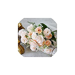 V-K-YA 20 Heads Carnation Bouquet Artificial Flowers for Home Wedding Decoration Fake Flower Bouquet,Champagne 107