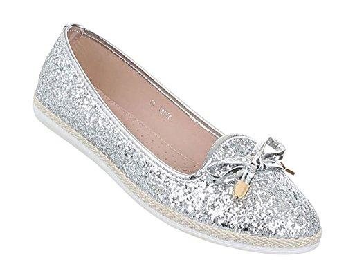 Damen Schuhe Ballerinas Pumps Silber