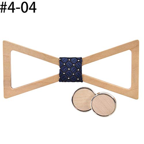 Jdeepued Wooden Bow Tie Triangle Hollow Wooden Bow Tie Groom Wedding Personality Suit Bow Tie Personality Men's Gift Bow Tie (Color : 404, Size : Free Size)