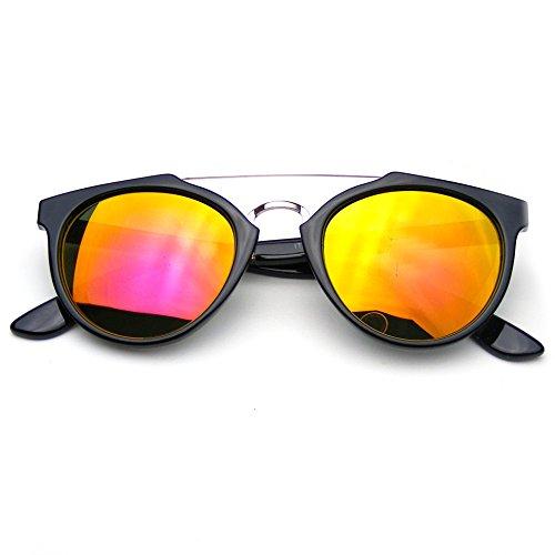 Vintage Inspired Dapper Cross Bar Flash Mirror Lens Sunglasses - Lunette Soleil De