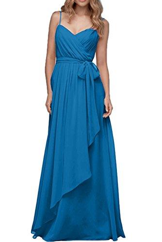 Lang Chiffon Neu Blau Band Abendkleider Partykleid Traeger Damen Neu Ivydressing w7Aq1A