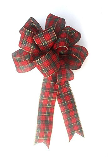 Red tartan plaid wired ribbon bow for wreaths, Christmas decoration, gift - Bows Christmas Handmade