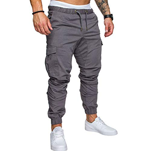 LINGMIN Men's Athletics Pocket Chino Cargo Pant Elastic Waist Trousers Jogger Pants Grey