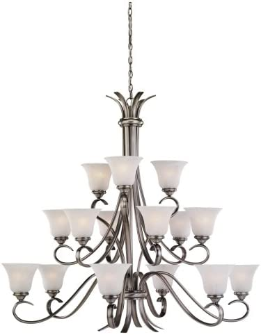 Sea Gull Lighting 31363-965 Fifteen-Light Rialto Chandelier with Etched White Alabaster Glass Shades, Antique Brushed Nickel Finish