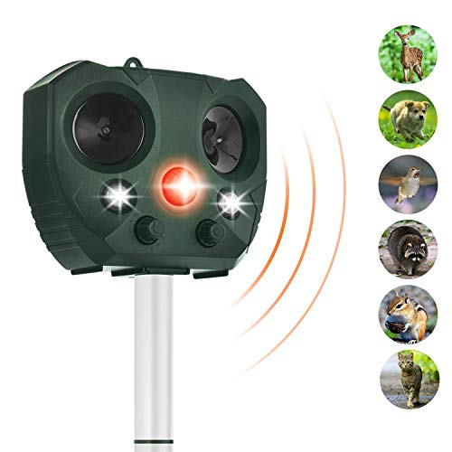 - ZOVENCHI Solar Powered Ultrasonic Animal Repeller,Outdoor Waterproof with Motion Activated & LED Lights, Repel unwanted Animal: Cats and Dogs, Squirrels,Raccoons, Foxes, Skunks, Rabbit,etc.