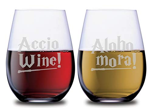 Magical Spell Wine Stemless Couples Glasses Accio Wine and Aloho Mora Set of 2 Dishwasher Safe, 18 oz, by Smoochies | Gift Ideas Couples, Anniversary, Home Date Night, Wife and Husband