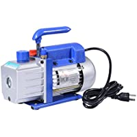 HomCom Single Stage 4 CFM Rotary Vane 1/3 HP HVAC Refrigerant Vacuum Pump