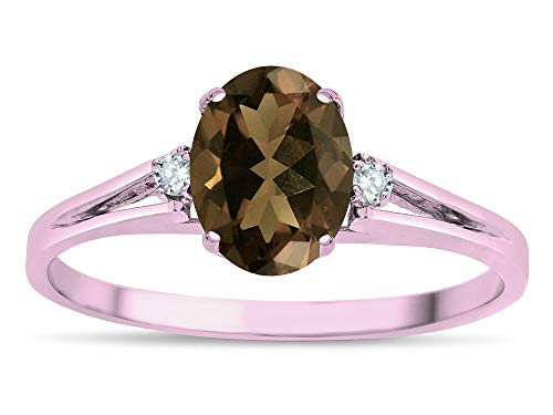 Smoky Quartz Oval Split Shank Ring - Star K Oval 8x6 Genuine Smoky Quartz Split Shank Three Stone Engagement Promise Ring 14k Rose Gold Size 6.5