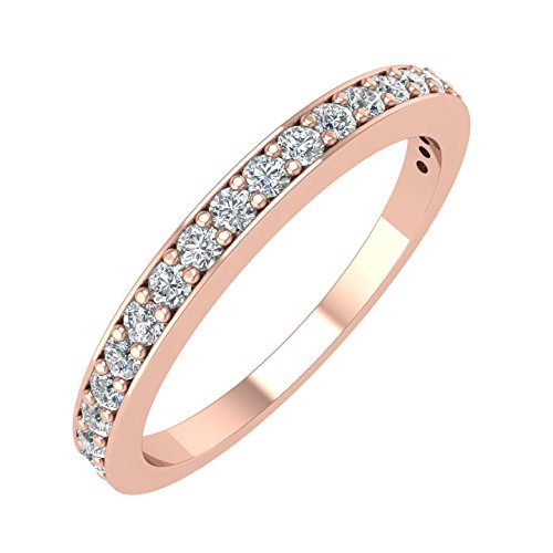 IGI Certified 14k Rose Gold Wedding Diamond Band Ring (1/4 Carat) (Size 5) - Wide Diamond Band