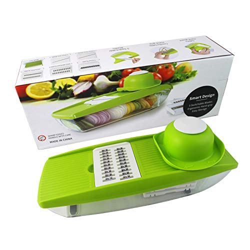 Gomarty Multi-function chopper Vegetable shredder,potato slicer,5 Interchangeable Stainless Steel Blades with Peeler, Vegetable cutter for Potato, Tomato, Onion, Cucumber, Cheese and so on