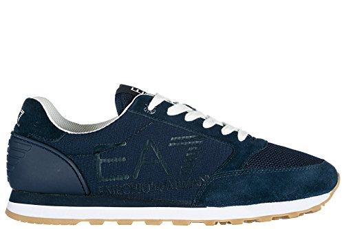 Emporio Armani EA7 Herrenschuhe Herren Wildleder Sneakers Schuhe Heritage Blu