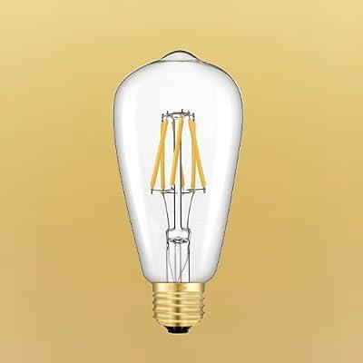 CRLight LED Edison Bulb 6W Dimmable E26 Medium Base ST64 Antique LED Filament Bulbs 2700K / 3000K / 5000K