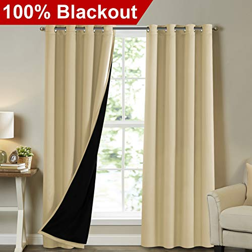 Turquoize Full Blackout Curtains 108 inch Long Insulated Blackout Curtains for Outdoor Patio Door Drapes Faux Silk Satin with Black Liner, 2 Panels, Gromment Top,Wheat - Wheat Bronze Four Light
