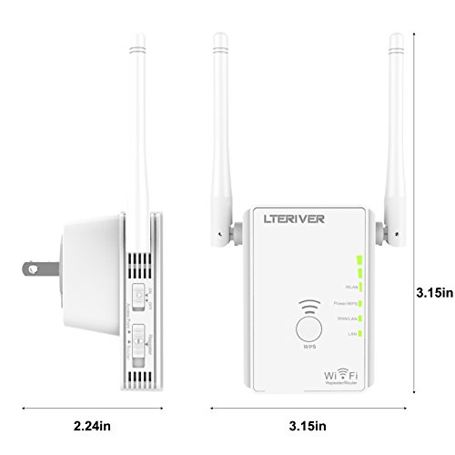 LTERIVER 802.11N 300Mbps WiFi Repeater WiFi Range Extender WiFi Signal Booster Mini Router Wireless Access Point With Two External WiFi Antenna &Power Management(E300) by LTERIVER (Image #2)