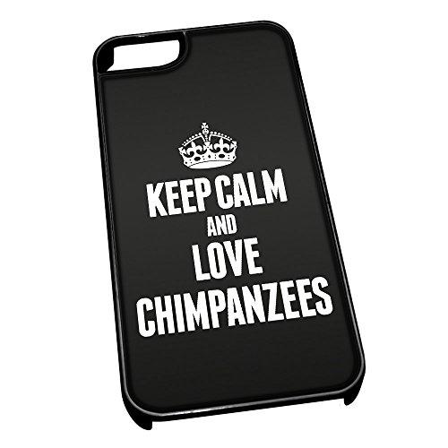 Nero cover per iPhone 5/5S 2409nero Keep Calm and Love Chimpanzees