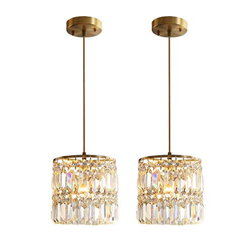Crystal Chandelier Raindrop Modern Island Pendant Light Linear Hanging Ceiling Light Fixture for Dining Room Bedroom Living Room (2-Pack) ()