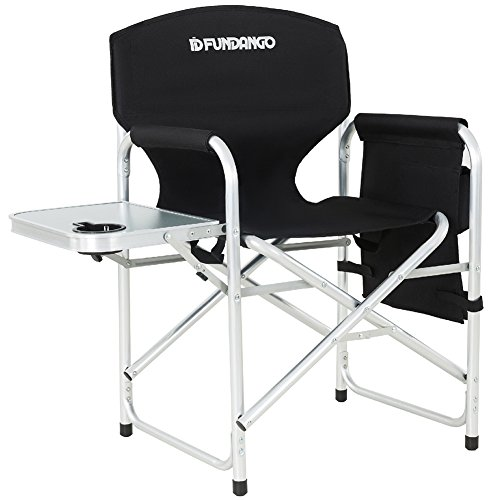 Aluminum Full Padded Back Folding Directors Chair with Side Table Pocket Cup Holder Handle for Outdoor Sports Camping, Large Size, Black ()