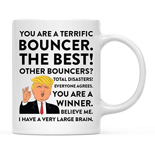 (Andaz Press Funny President Donald Trump 11oz. Coffee Mug Gag Gift, Terrific Bouncer, 1-Pack, Ceramic Christmas Birthday Drinking Cup Republican Democrat Political Satire)