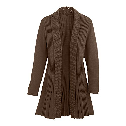 Cardigans for Women Long Sleeve Midweight Swingy Knit Cardigan Sweater W/Pocket-Brown (3X)