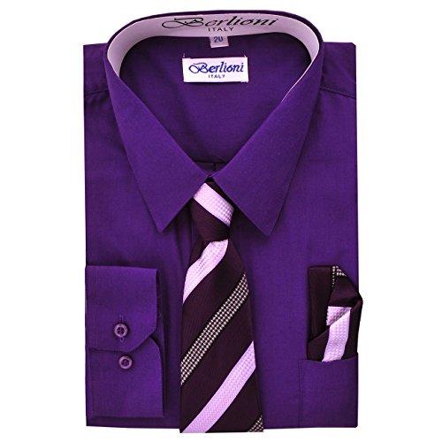 (Boy's Dress Shirt, Necktie, and Hanky Set - Purple, Size 10)