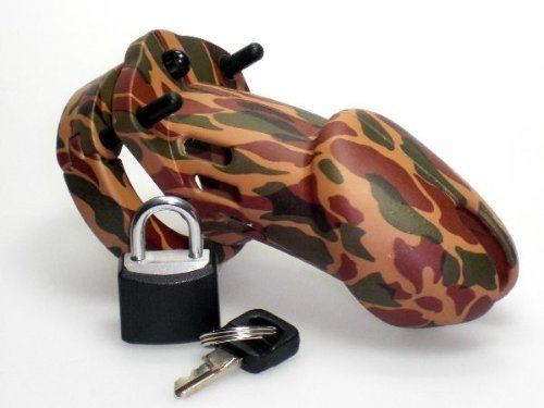 Male Chastity Device w/ 5 Different Cock Rings Camo / Military by Unknown