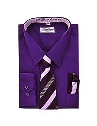 Boy's Dress Shirt, Necktie, and Hanky Set - Purple, Size 12