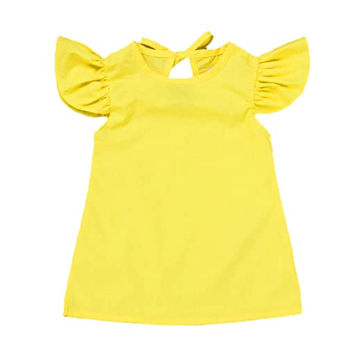 CBJIN Summer Infant Baby Little Girls Short Fly Sleeve Solid Bow Costume  for Toddler (70 9a72ca0cb38f