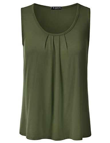 EIMIN Women's Pleated Scoop Neck Sleeveless Stretch Basic Soft Tank Top Olive 3XL