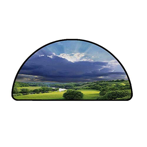 Nature Comfortable Semicircle Mat,Exquisite View with Fluffy Clouds Sun Rays Over Grass Meadow Bush Picture for Living Room,29.5