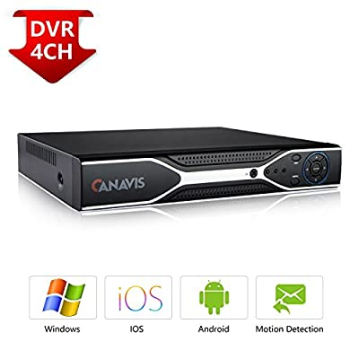 Security Camera System, CANAVIS AHD Surveillance DVR with 4 720P HD 1.0 Megapixel Indoor Outdoor IP66 Bullet Cameras, Home CCTV Camera Surveillance Kits NO Hard Drive from CANAVIS