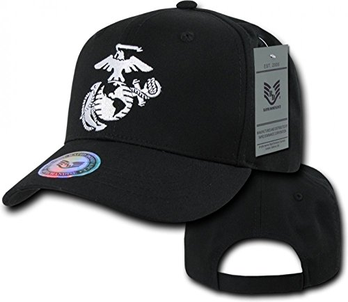 - 6 Panel Military Embroidered Cap by Rapid Dominance (US Marines Corps, Black 2)