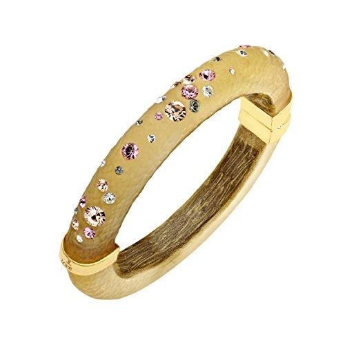 Swarovski Crystal Lucite Bangle - Love Universe Golden Sand Lucite Bangle Bracelet with Multi-Color Swarovski Crystals in 14K Gold-Plated Sterling Silver
