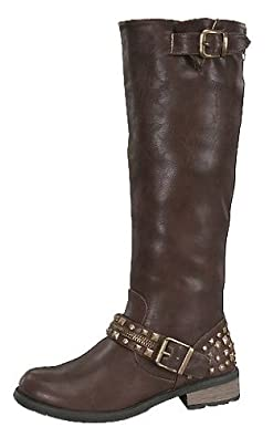 Amazon.com | Women's Knee High Accent Studded Riding Boots in ...