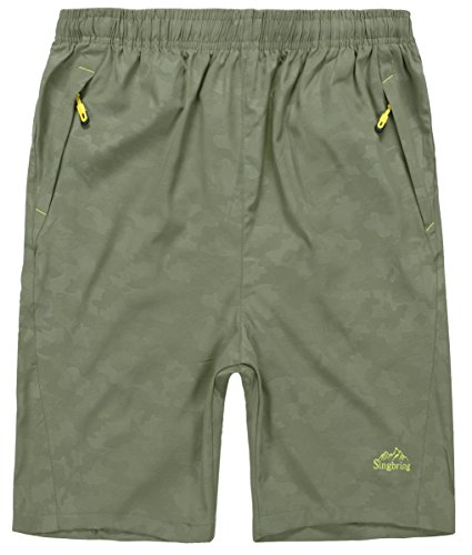 Hiking Clothing (Singbring Men's Outdoor Quick Dry Hiking Shorts Zipper Pockets Khaki(P),Medium)